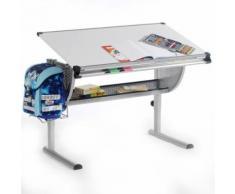 Bureau enfant écolier junior MADS table à dessin réglable en hauteur et plateau inclinable en MDF blanc - Bureaux