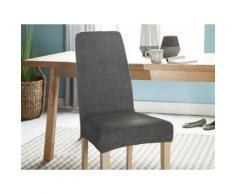 Housse de chaise unie extensible effet nid d'abeille gris HUGO - Textile séjour