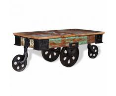 vidaXL Table Basse de Salon Bois de Récupération 90x45x35 cm Table d'Appoint - Tables de réunion