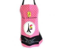 Les Trésors De Lily [M1330] - Tablier créateur 'Macarons de Paris' rose noir - Autres