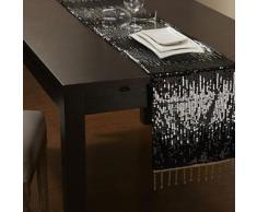 Chemin de table à motif sequins et gland en polyester noir - linge de table et décoration