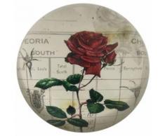 Presse Papier Sulfure Rond Bombé Motif Rose Rouge en Verre ø 7.50 cm - Objet à poser