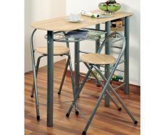 Table de bar avec 2 chaises - Bois - Meuble de cuisine - Objet à poser