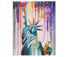 Tableau à l'huile 3D, statue de la liberté, peint à la main à 100%, toile de décoration murale XL ~ 100x80cm - Décoration murale