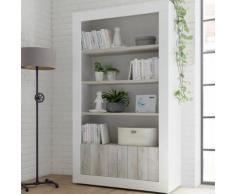 Bibliothèque blanc laqué moderne 110x190 cm URBAN 3 - L 110 x P 42 x H 144 cm - Étagère