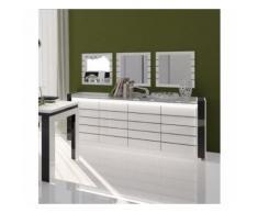Buffet, bahut LINA blanc et noir brillant avec LED. Meuble design pour votre salle à manger - Buffets