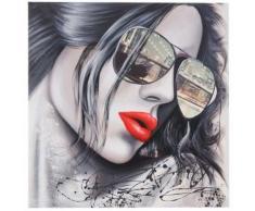 Tableau à l'huile, lunettes de soleil, peint à la main à 100%, toile de décoration murale XL ~ 80x80cm - Décoration murale