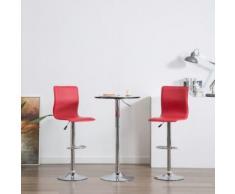 Meelady Tabouret de Bar Hauteur Réglable lot de 2 pcs en simili cuir chaises de bar de Cuisine Stools Moderne rouge - Chaise