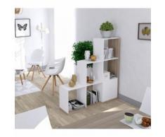 Bibliothèque escalier imitation chêne et blanc - Bibliothèques