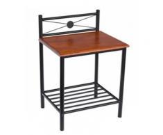 Table de chevet ST58 en bois brun et pieds en métal noir, Dim: H64 x L45 x P35 cm -PEGANE- - Tables de chevet