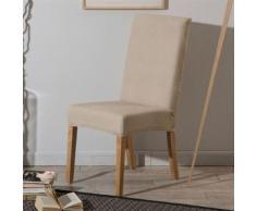 Housse de chaise unie extensible effet nid d'abeille beige HUGO - Textile séjour