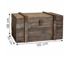 Grande Malle Grand Coffre Table Basse de Rangement 90 cm x 56 cm x 48 cm - Coffres