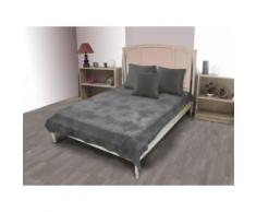 Jeté de lit coton 180x220 cm TIE AND DYE gris - Linge de lit