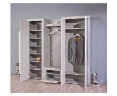 Armoire meuble à chaussures décor béton blanc avec miroir - Armoire