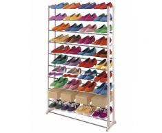 Étagère à chaussures rangement, métal/plastique, 140x25x72cm - Meubles à chaussures