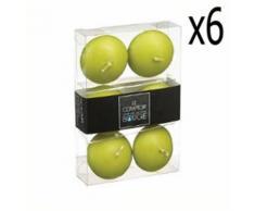 Lot de 6 boites de 6 bougies flottantes en Vert, D.4,5 x H. 2,5 cm -PEGANE- - Bougeoir, bougie et senteur