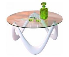 Table basse Valentine blanc en fibre de verre, 80 x 80 x 38 cm -PEGANE- - Objet à poser
