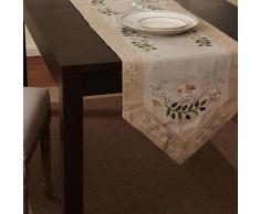 Chemin de table moderne à motif floral en lin et coton beige - linge de table et décoration