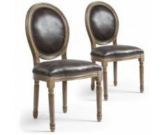 Lot de 2 chaises de style médaillon Louis XVI Simili (P.U) Effet Vieilli - Chaise