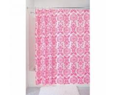 InterDesign Damask rideau douche, rideau baignoire design 183,0 cm x 183,0 cm en polyester, rideau de bain qualitatif à illets en métal, rose - Accessoires salles de bain et WC