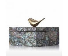 Tooarts Boîte à Bijoux Carré Boîte De Rangement En Bois Anneau Collier Boîte De Rangement Cadeaux Spéciaux pour Femmes - Objet à poser