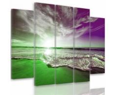 Tableau toile déco multi panneaux 150x100 cm MER VIOLET VERT BLANC - Décoration murale