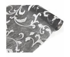 Chemin de table intissé Arabesque coloris Noir - 29 cm x 10 m - Objet à poser