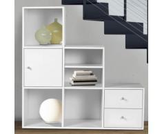 Meuble de rangement escalier 3 niveaux bois blanc avec porte et tiroirs - Étagère