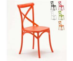 Chaise de cuisine restaurant en polypropylène VINTAGE Paysan Cross design, Couleur: Orange - Chaise