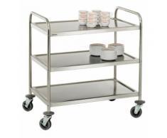 Chariot de service cuisine design professionnel inox 3 étages max 120 kg 3614116 - Accessoires de rangement