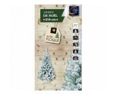 Sapin de Noël vert 210 cm floqué blanc - Objet à poser