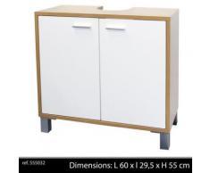 meuble sous evier lavabo 2 portes salle de bain cuisine bois armoire rangement - Accessoires salles de bain et WC