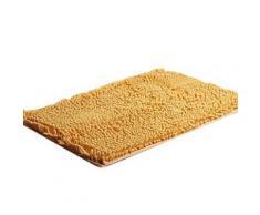 Tapis de bain rectangulaire à poils longs 40 x 60 cm Jaune - Accessoires de bain