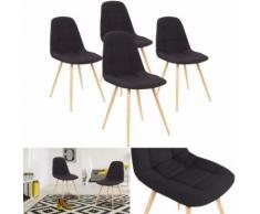 Chaises X4 VERANE capitonnées tissu noir pour salle à manger - Accessoires salles de bain et WC
