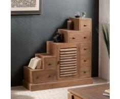 Meuble escalier en bois 7 tiroirs et 1 porte L 105cm BENGAL - Bibliothèques