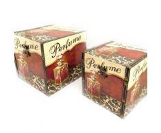 Set de 2 malles Coffres à jouets 'Belle Epoque' marron beige - Objet à poser
