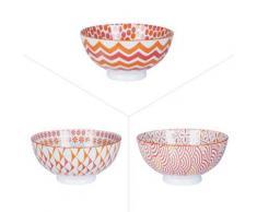 Table Passion - Bol 15 Cm Porcelaine Corail Rouge Orange Assortis ( Lot De 6 ) - vaisselle