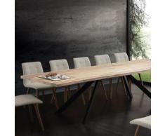 Table à manger extensible bois massif ILONA - L 300 x P 100 x H 75 cm - Tables salle à manger