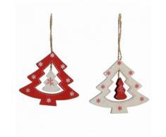 Lot 2 Sapins Ajourés en Bois à Suspendre Décoration de Noël Suspensions Sapin Arbre de Noël 0,5x8x9cm - Objet à poser