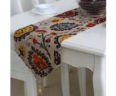 Chemin de table à motif multicolores et gland en lin 32 x 220 cm - linge de table et décoration