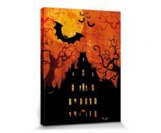Halloween Poster Reproduction Sur Toile, Tendue Sur Châssis - Maison Hantée Et Lune De Sang (40x30 cm) - Décoration murale