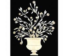 L'Héritier Du Temps - Fronton mural à poser applique décorative motifs floraux en fer patiné gris clair 3,5x79x97cm - Décoration murale