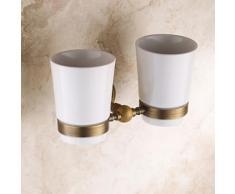 Porte-brosses à dents en laiton , céramique et cuivre huilé - Accessoires de bain