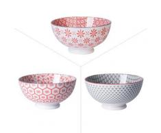 Table Passion - Bol 15Cm Yunnan Porcelaine Rouge Gris ( Lot De 6 ) - vaisselle