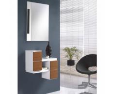 Meuble d'entrée Blanc/Noyer + miroir - FERNUDA - Commodes
