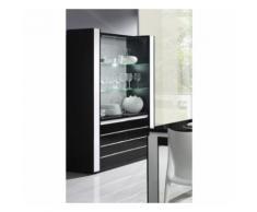 Vitrine argentier vaisselier LINA + LED coloris noir et blanc brillant. Meuble design pour votre salon ou salle à manger - Buffets