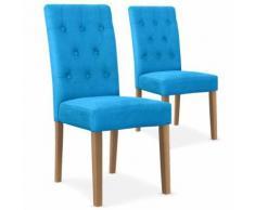 Lot De 2 Chaises Capitonnées Tissu Bleu Henry - Chaise