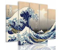 Tableau toile déco multi panneaux 150x100 cm VAGUE JAPON BLEU BLANC - Décoration murale