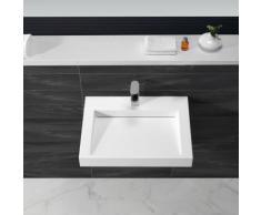 Lavabo Suspendu Rectangulaire Blanc Mat, 60x45 cm,Composite, Soft - Installations salles de bain