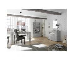 Nouvomeuble - Ensemble salle à manger complète gris béton urban 2 - Tables salle à manger